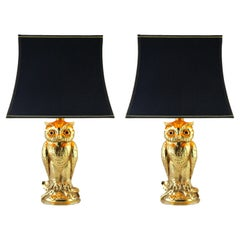 Brass Pair of Owl Table Lamps from Loevsky & Loevsky, 1960s