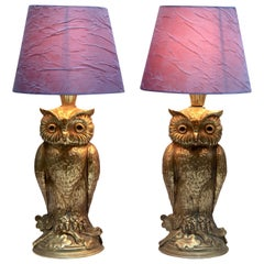 Brass pair Owl Table Lamps from Loevsky & Loevsky, 1960s