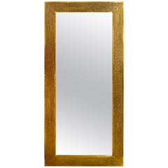 Brass Palatial Modern Floor, Console or Entryway Mirror, Hand-Hammered Design