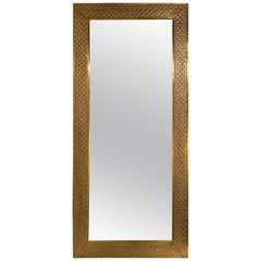 Modern Brass Floor or Console Mirror Hand Hammered Diamond Riveted Design