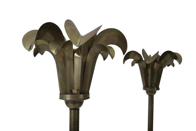 Brass Palm Frond Floor Lamps, Hart Associates, 1980 In Good Condition For Sale In Chicago, IL