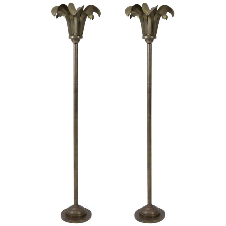 Brass Palm Frond Floor Lamps, Hart Associates, 1980 For Sale