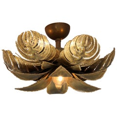 Brass Palm Sconce by Maison Jansen, France, 1970s