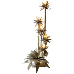 Brass 'Palm Tree' Floor Lamp in the Style of Maison Jensen