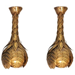 Brass Palm Tree Wall / Ceiling Lights Maison Jansen