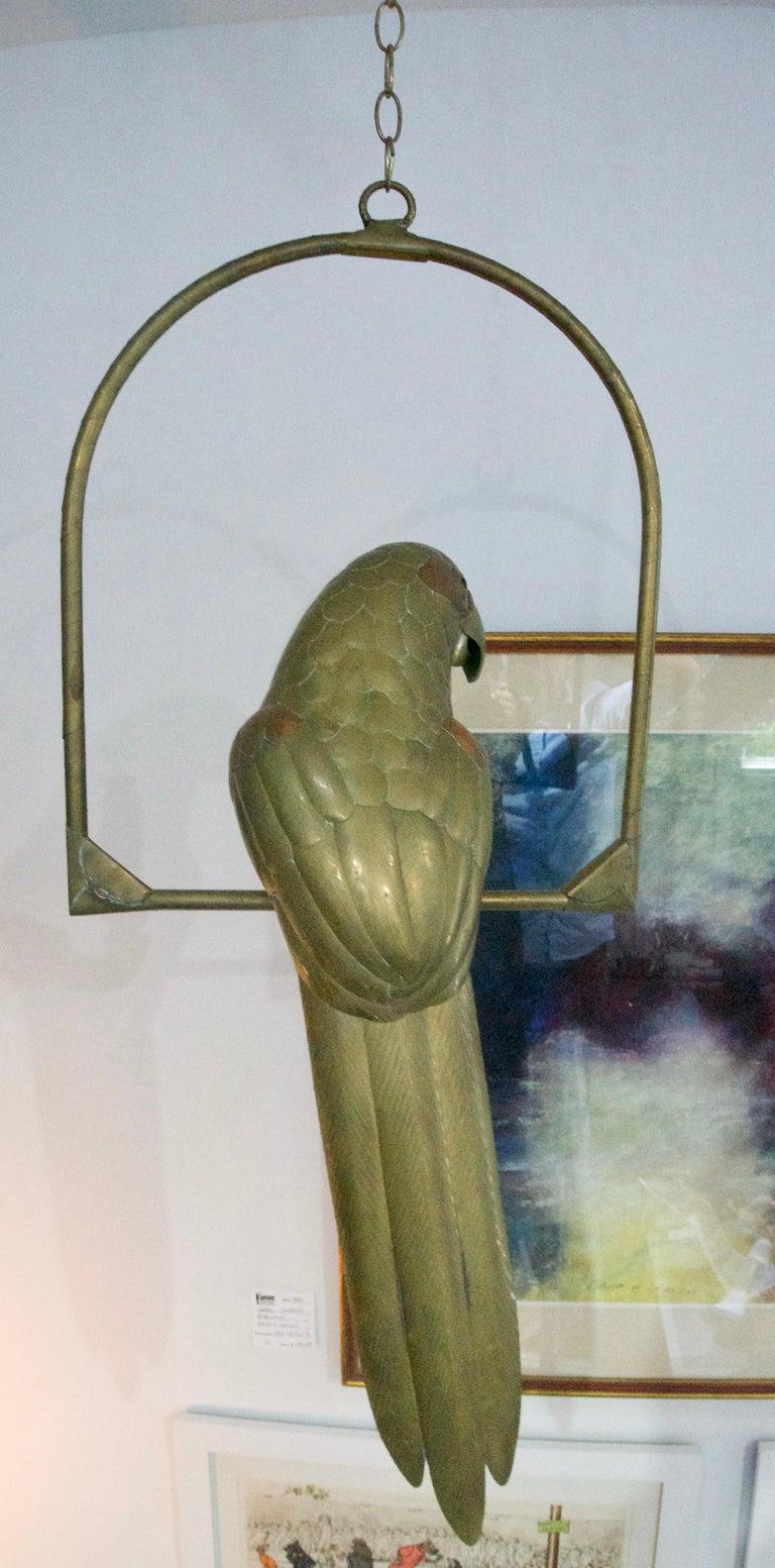 Mexican Brass Parrot Figure