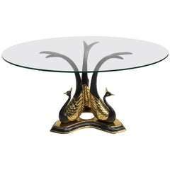 Hollywood Regency Brass and Glass Circular Peacock Side or Coffee Table, 1970s