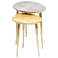 Brass Pedestal Tables by Studio Glustin
