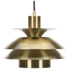 Brass Pendant by Danish Top-Lamper, 1980s. Cute Brass Lacquered Hanging Lamp