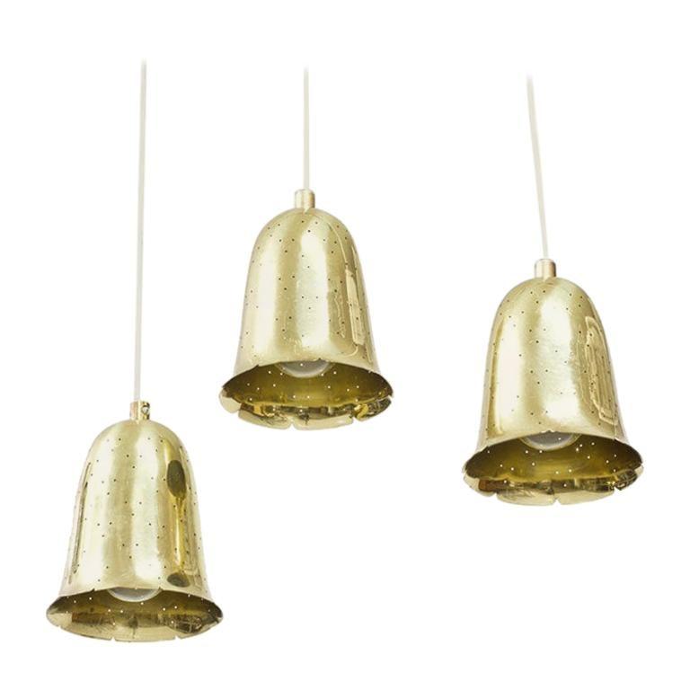Brass Pendant Lamps by Boréns, Sweden, 1950s
