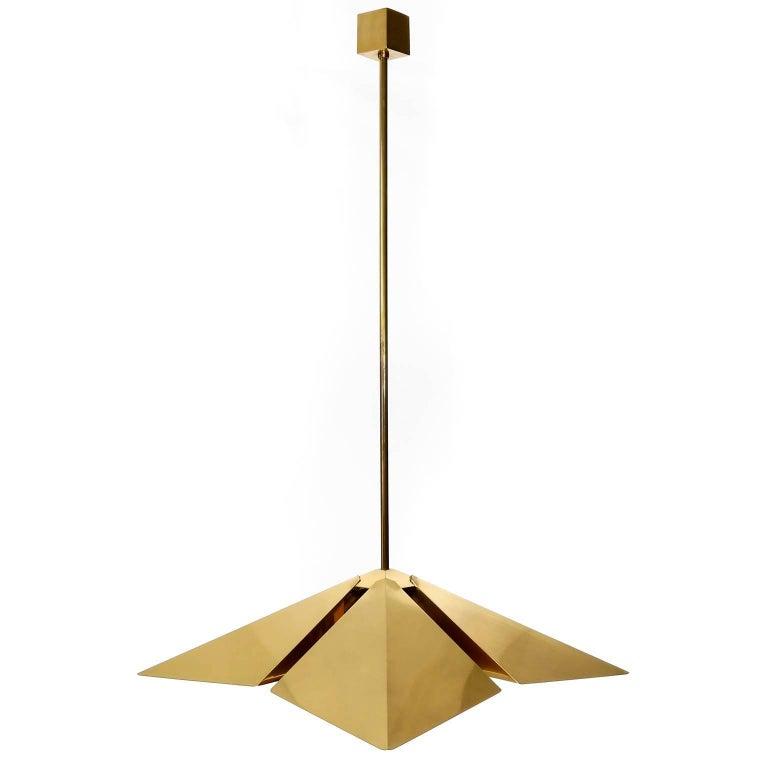 Mid-Century Modern Brass Pendant Light Fixture, Vereinigte Werkstaetten, Germany, 1970 For Sale