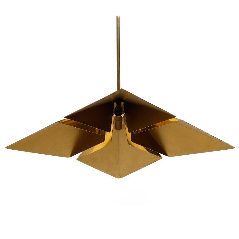 Late 20th Century Brass Pendant Light Fixture, Vereinigte Werkstaetten, Germany, 1970 For Sale