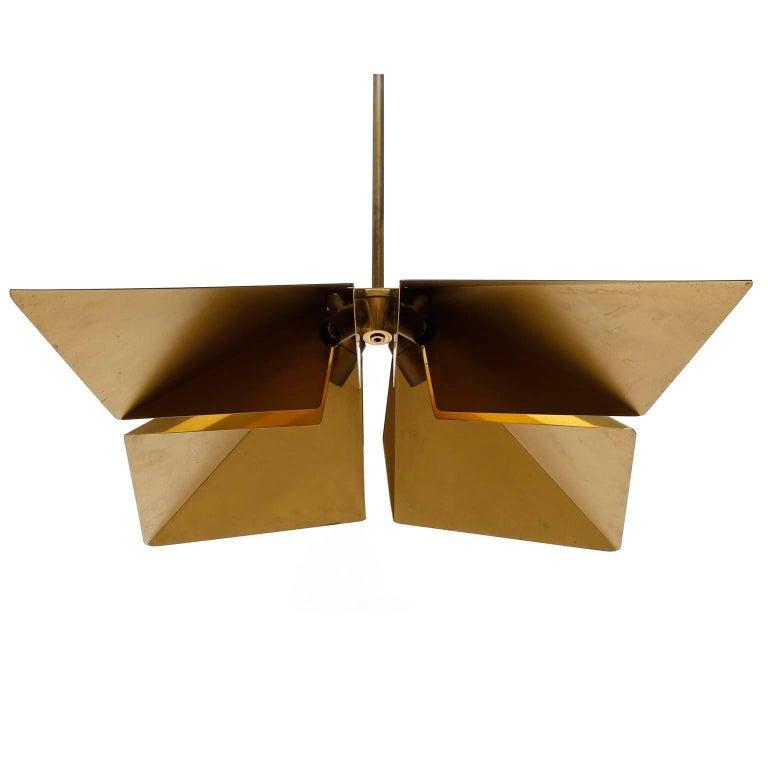 Brass Pendant Light Fixture, Vereinigte Werkstaetten, Germany, 1970 For Sale 1