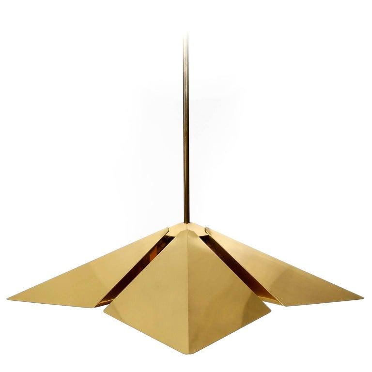 Brass Pendant Light Fixture, Vereinigte Werkstaetten, Germany, 1970 For Sale