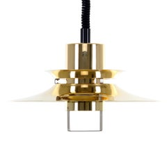 Brass Pendant, No. 23124 by Vitrika, 1960s with New Black Suspension
