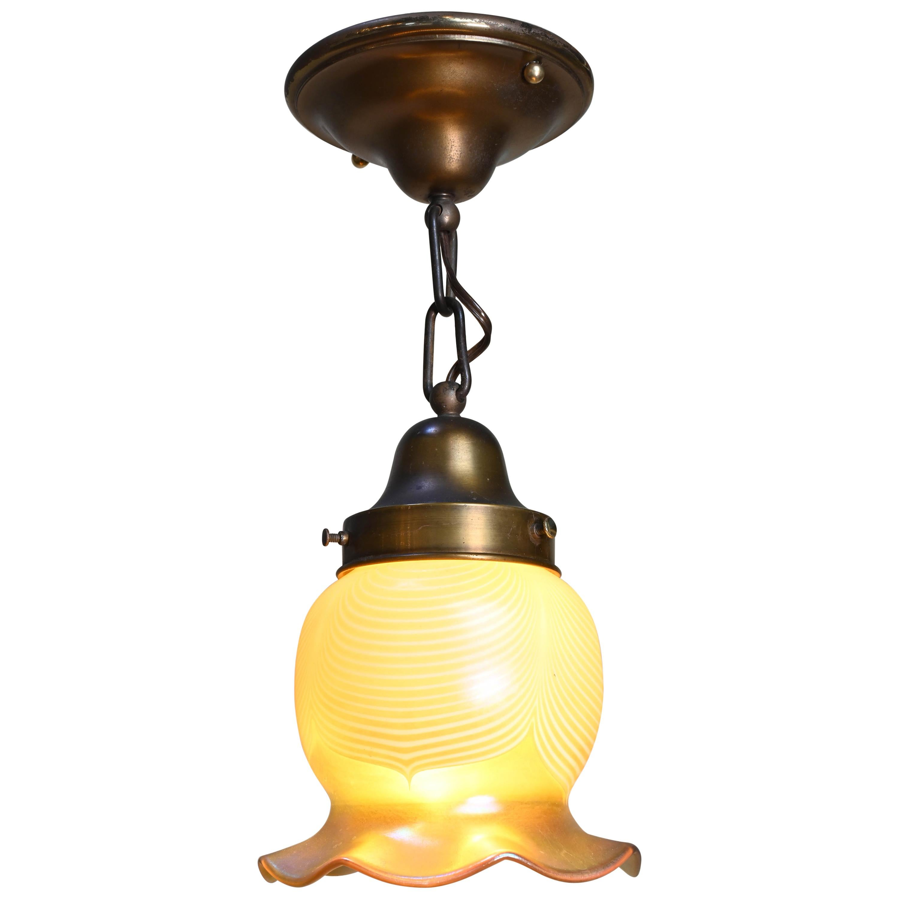 Brass Pendant with Large Art Glass Shade