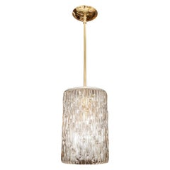 Brass Pendant with Textured Glass Cylindrical Shade