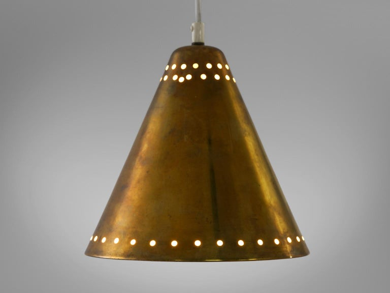 Mid-Century Modern Brass Pendants with Perforated Lampshade For Sale