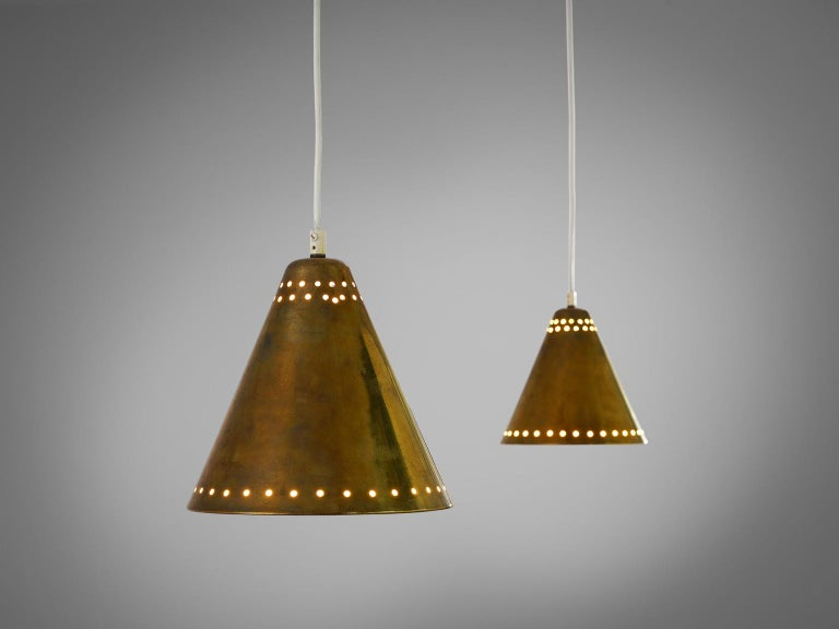 Italian Brass Pendants with Perforated Lampshade For Sale