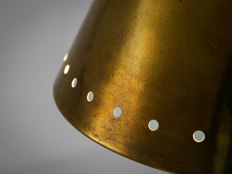 Brass Pendants with Perforated Lampshade In Good Condition For Sale In Waalwijk, NL