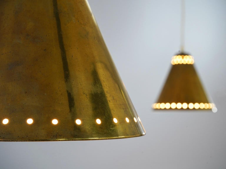 Mid-20th Century Brass Pendants with Perforated Lampshade For Sale