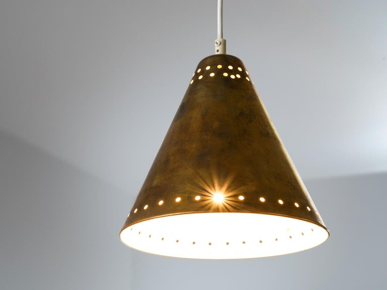 Brass Pendants with Perforated Lampshade For Sale 1