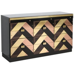 Brass, Perspex and Black Glass 12-Drawer Credenza
