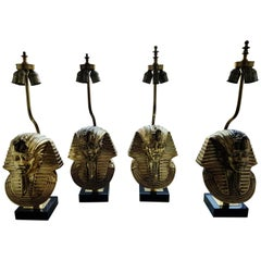 Brass Pharaoh Head Table Lamps by Deknudt, 1970s,