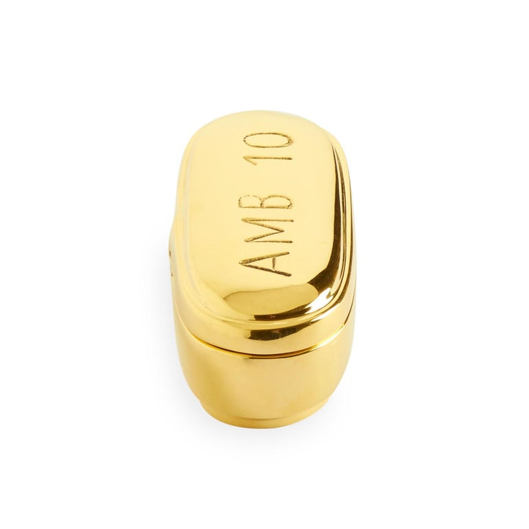 Polished Brass Pill Box Set For Sale