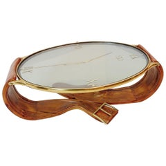 """Brass, Pine and Glass """"Wristwatch"""" Coffee Table - Italy 1950s"""