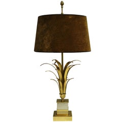 Brass Pineapple Leaf Table Lamp, 1970s