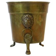 Brass Plant Pot Holder Cachepot Jardinière with Lionhead Design