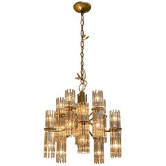 Brass-Plated 10 Arm Midcentury Chandelier with Glass Prisms