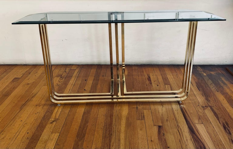 Post-Modern Brass Plated and Beveled Glass Postmodern Console Sofa Table For Sale