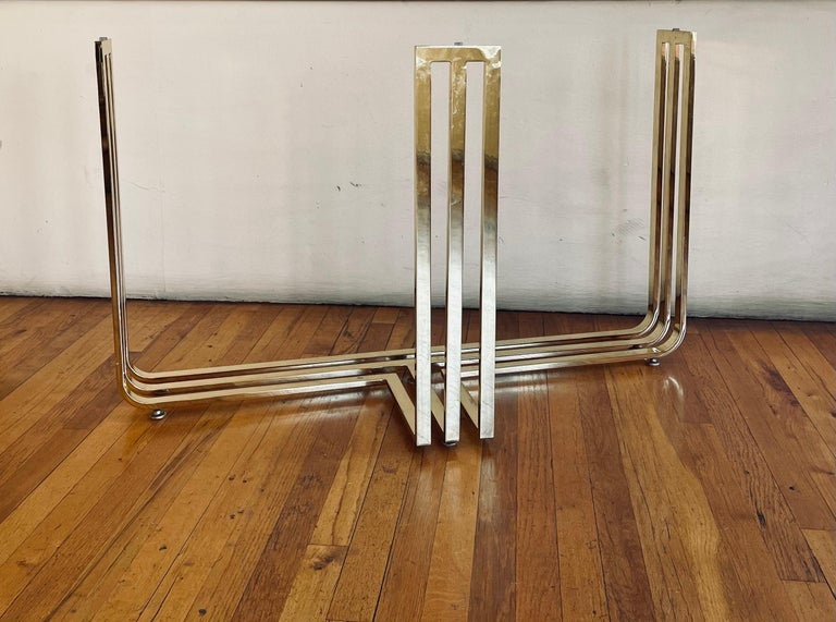 20th Century Brass Plated and Beveled Glass Postmodern Console Sofa Table For Sale