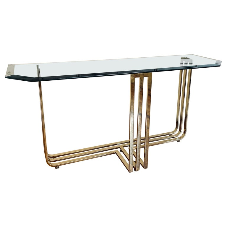 Brass Plated and Beveled Glass Postmodern Console Sofa Table For Sale