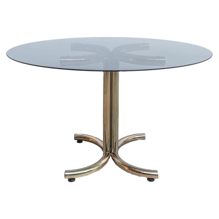 Brass Plated Chrome Base And Smoked Glass Round Dining Table By Giotto Stoppino