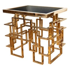 Brass Plated Metal Side Table