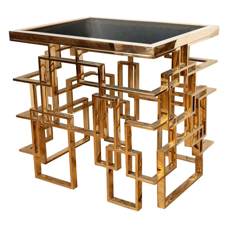 Brass Plated Metal Side Table For Sale