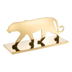 Brass Plated Panther Silhouette Table Accessory