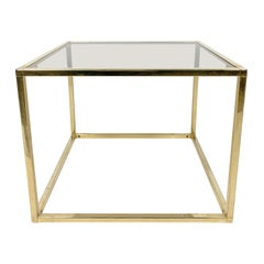 Brass-Plated Rectangular Small Table with Glass Top, 1970s