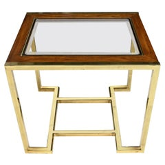 Brass Plated Wood & Glass End Table by Thomasville Furn Style Milo Baughman