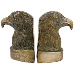 Brass Polished American Eagle Bookends, 1970s