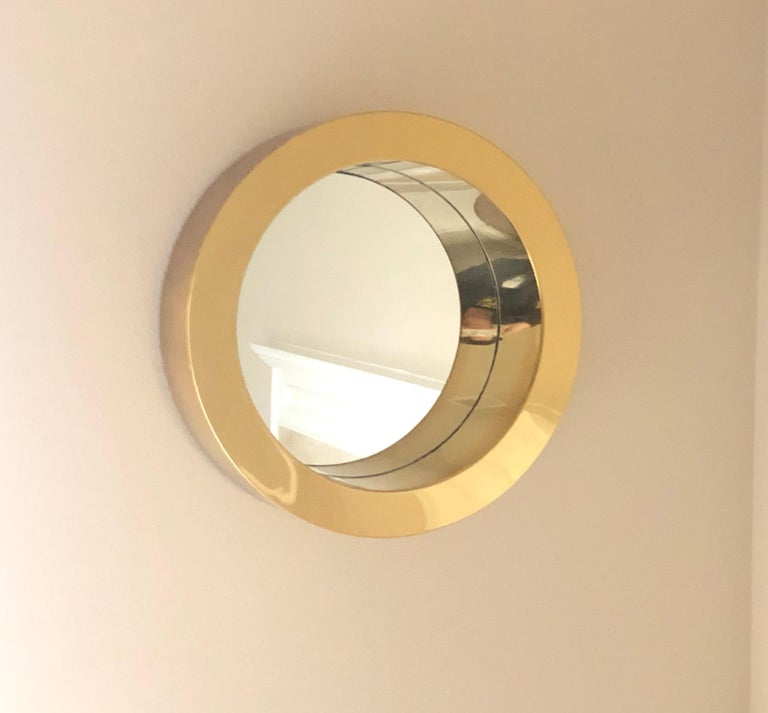 Brass Porthole Mirror Signed C. Jere In Good Condition In Denton, TX