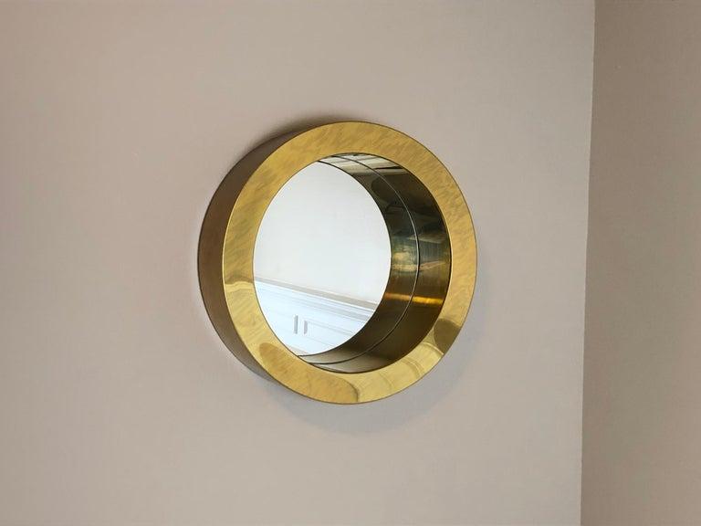 20th Century Brass Porthole Mirror Signed C. Jere