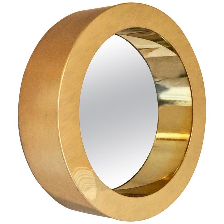 Brass Porthole Mirror Signed C. Jere