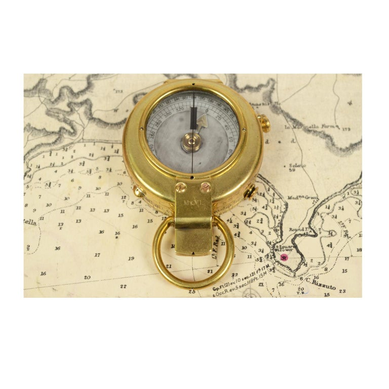 Brass Prismatic Bearing Compass, 1918 For Sale 5