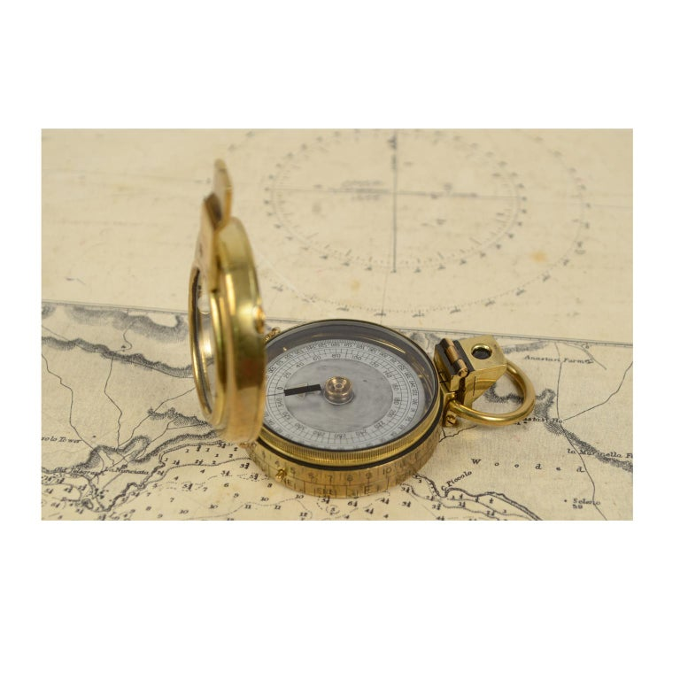 Brass Prismatic Bearing Compass, 1918 For Sale 6