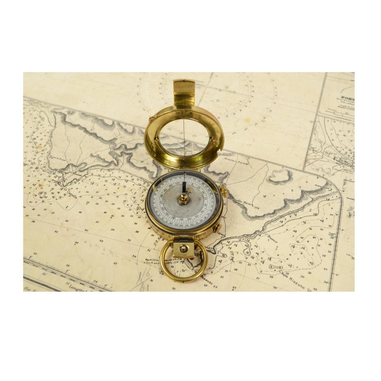 British Brass Prismatic Bearing Compass, 1918 For Sale