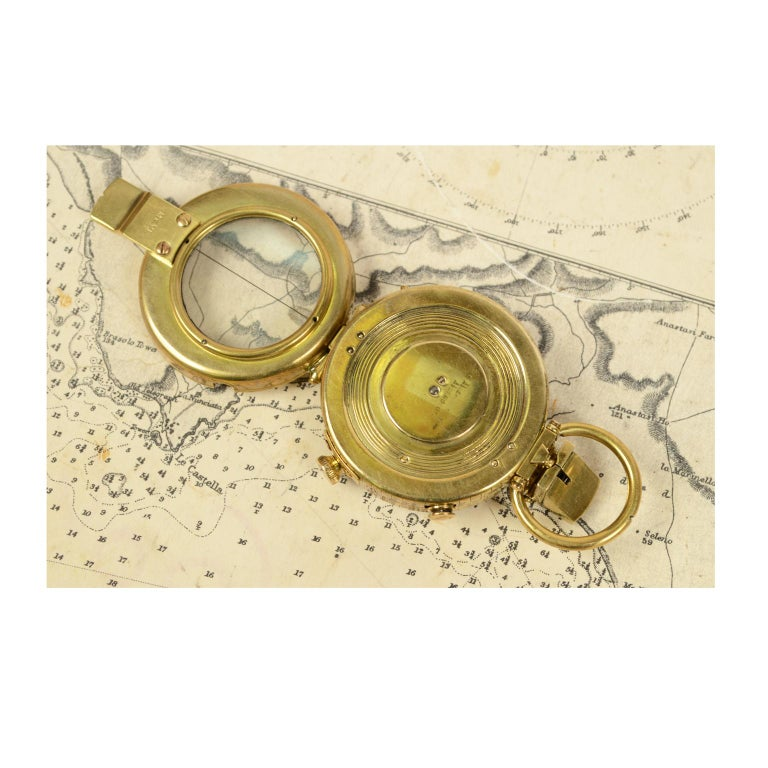 Early 20th Century Brass Prismatic Bearing Compass, 1918 For Sale